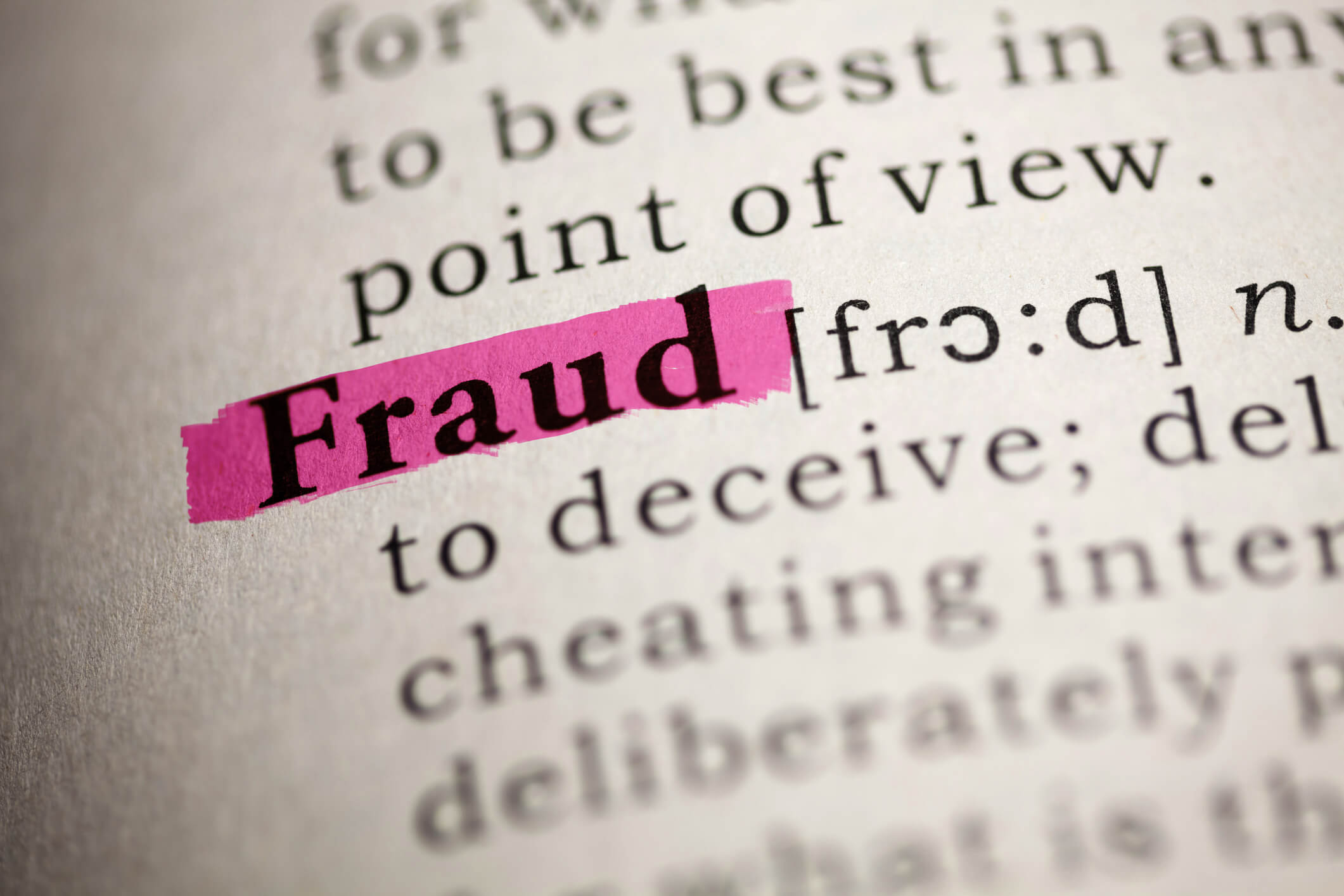 Fraud highlighted in dictionary