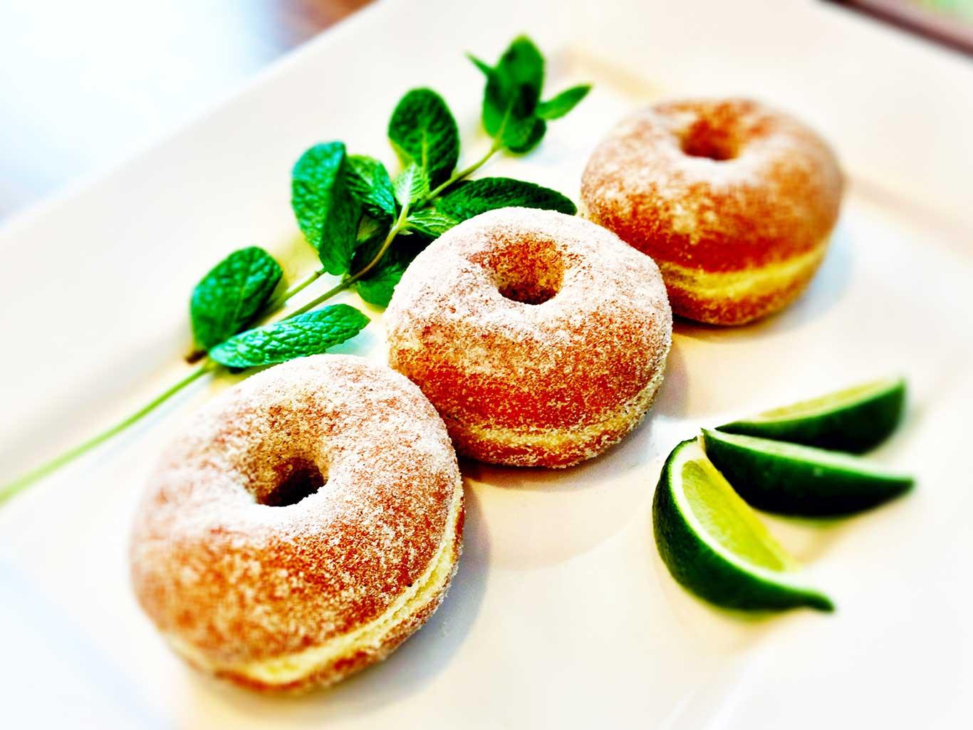 Three sugar donuts