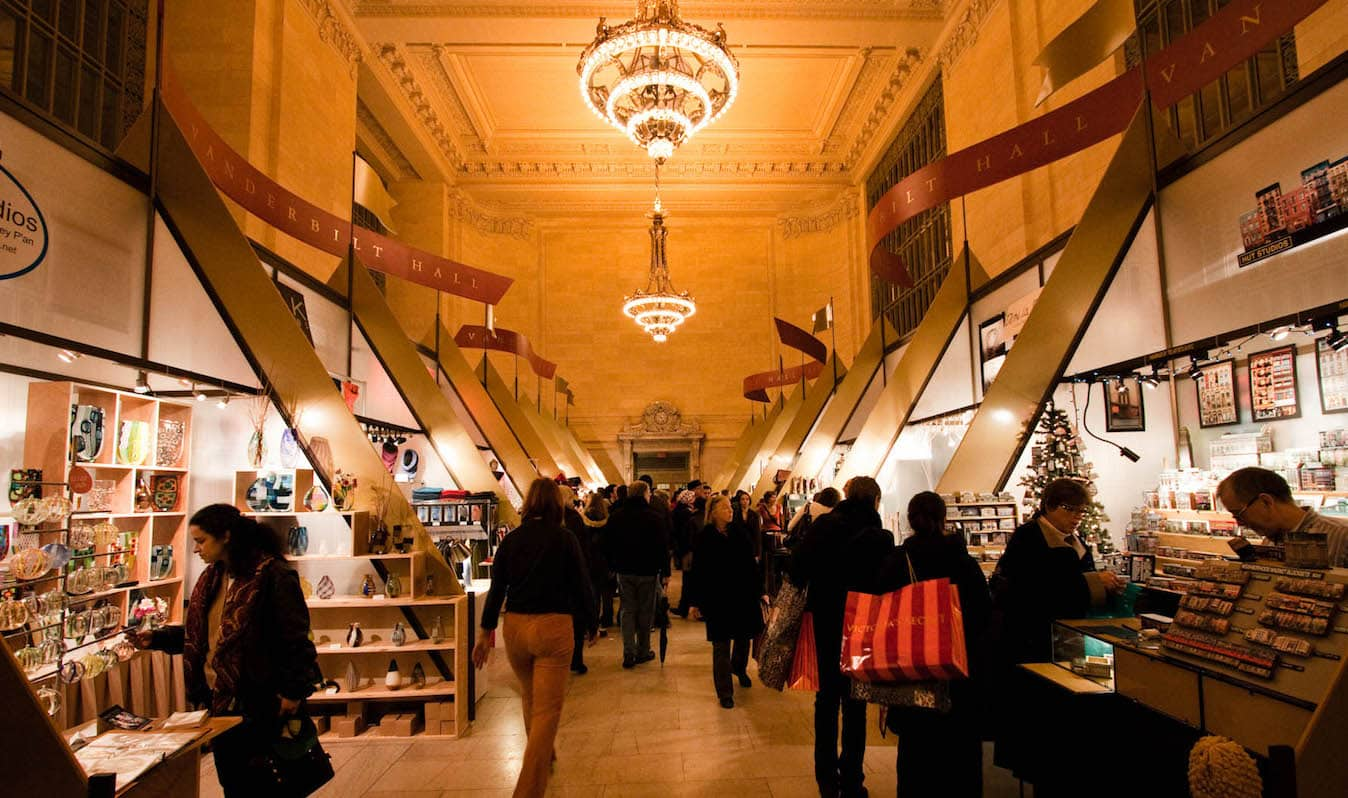 Holiday shopping in a marketplace