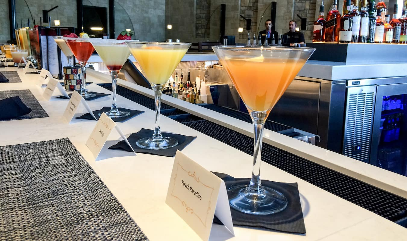 Line of martinis on a bar