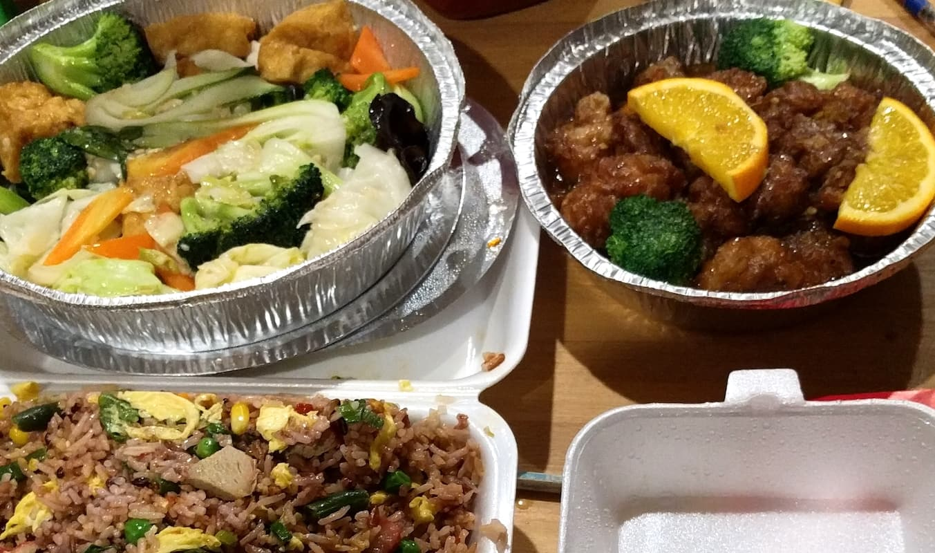 Food in takeout containers