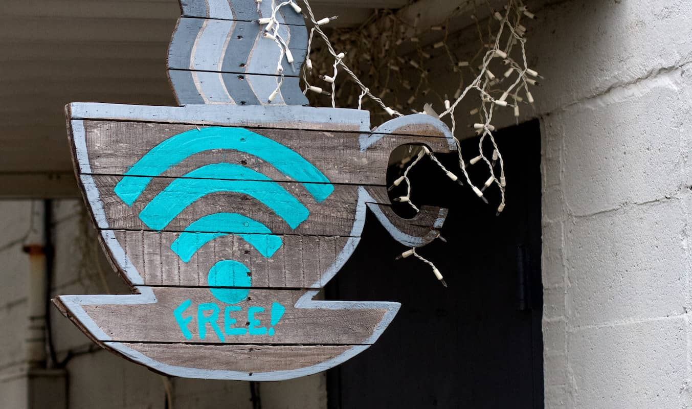 Free wi-fi sign at cafe