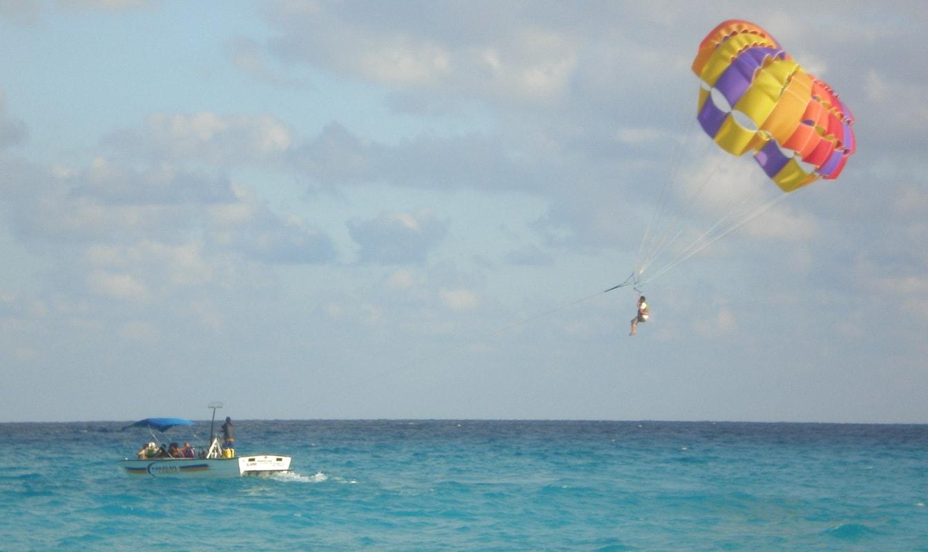 Parasailing over ocean
