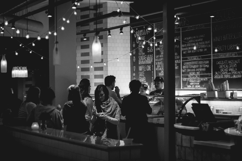 Black and white image of ice cream shop