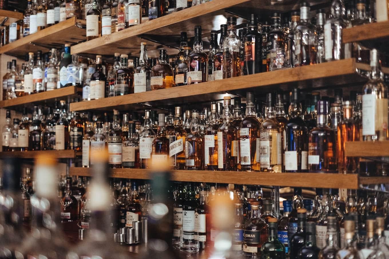 Liquor bottles on shelves
