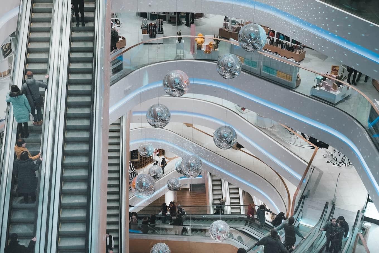 Escalators in a mall