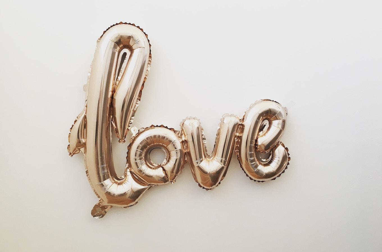 Gold mylar love balloon