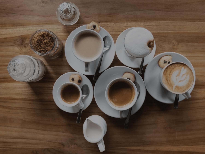 Group of coffee drinks