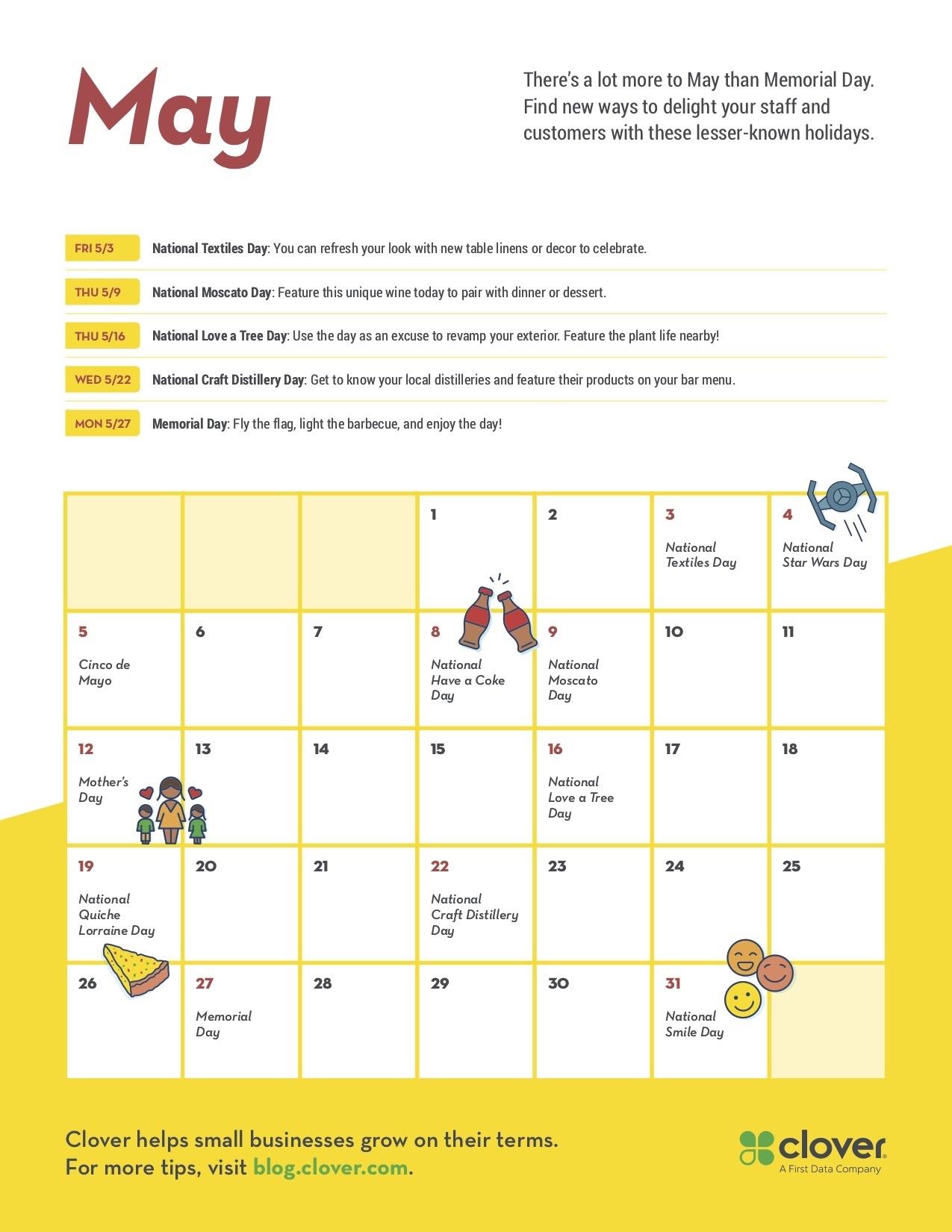 May Promo Calendar More Than Memorial Day Clover Blog
