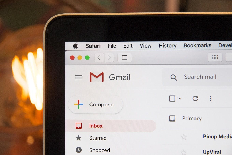 Gmail interface on laptop