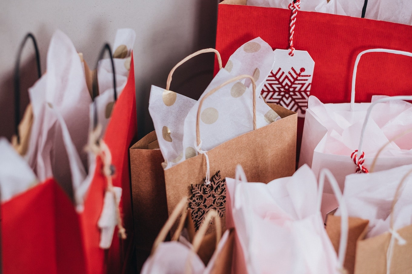 Group of holiday gift bags