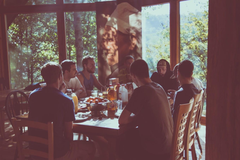 Group sitting in restaurant