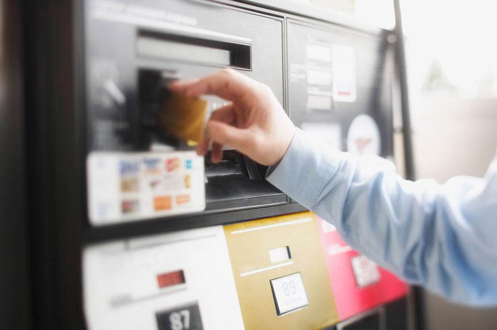 Inserting card at gas pump