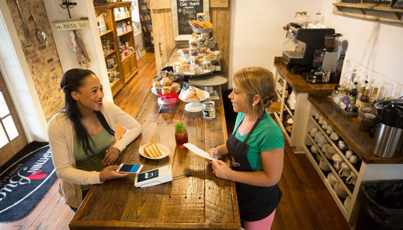 Mobile payment at a cafe