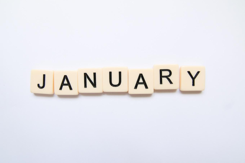 January spelled in letter tiles