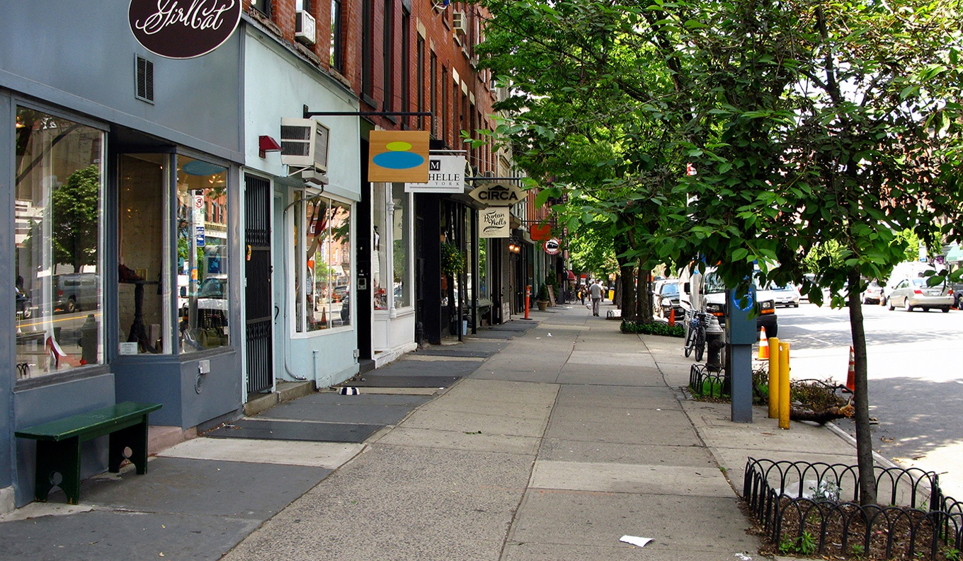 Street with small businesses