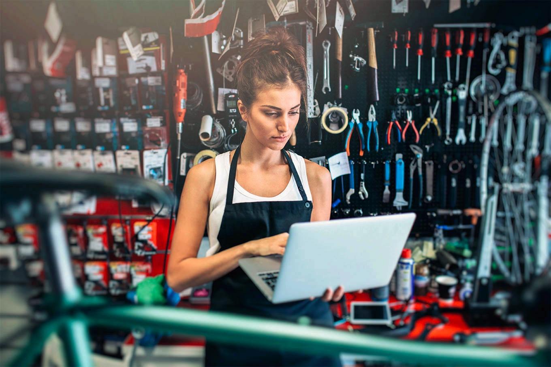 Female employee at repair shop
