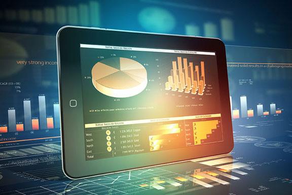 Sales graphs on laptop