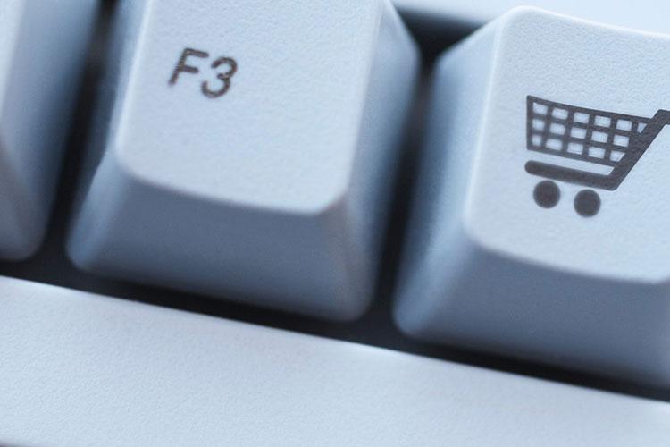 Shopping cart icon on keyboard