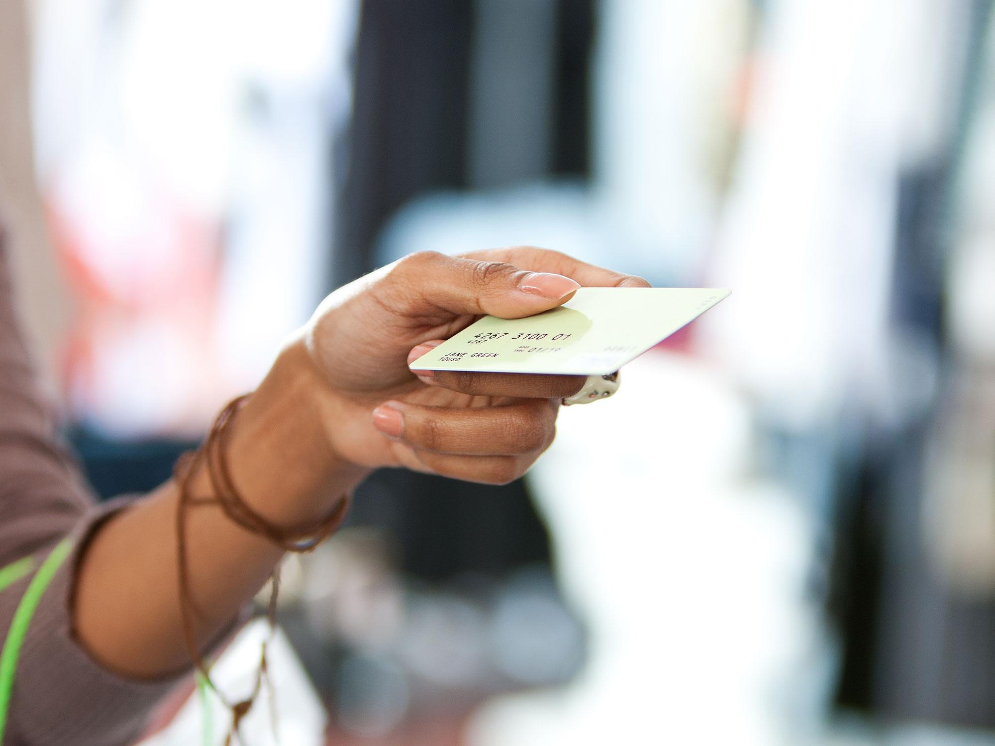 Handing over credit card