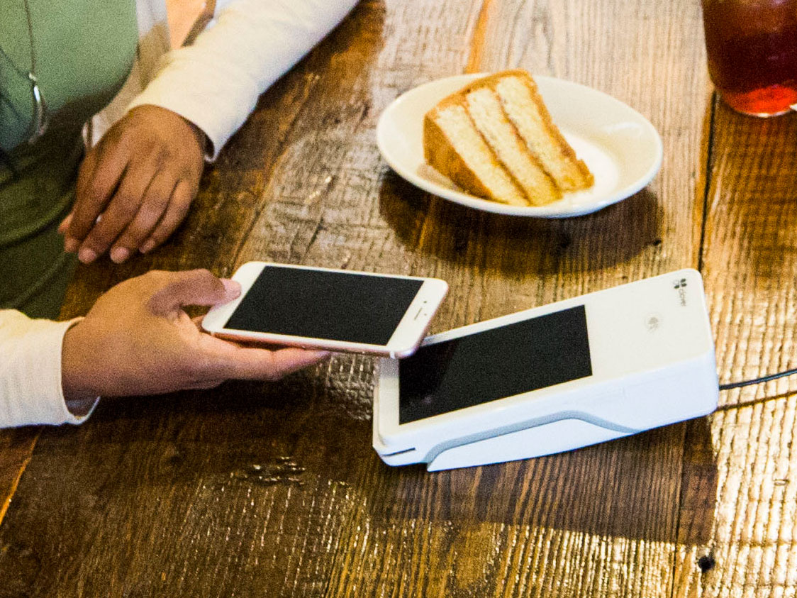 Holding phone over Clover Flex