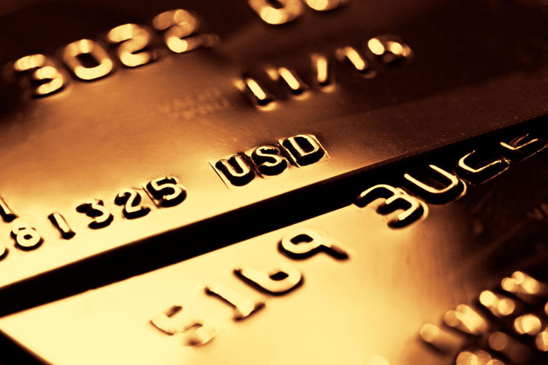 Two gold credit cards