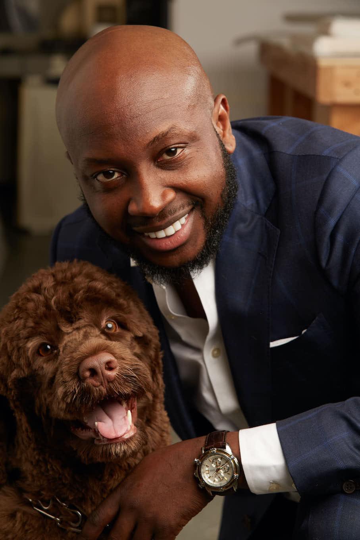 Man posing with dog