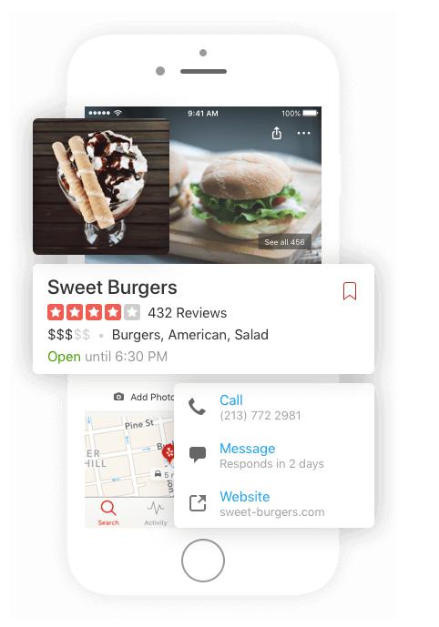 Sweet Burgers Yelp on mobile device