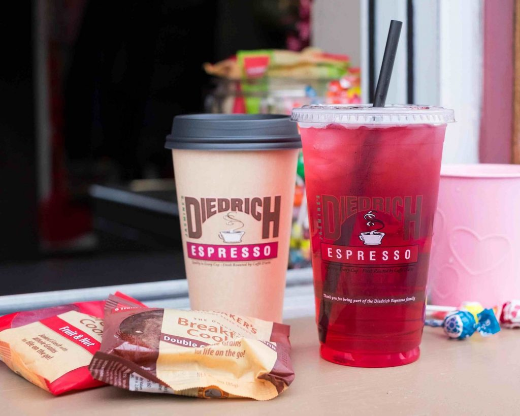 Drinks and snacks from Diedrich Espresso