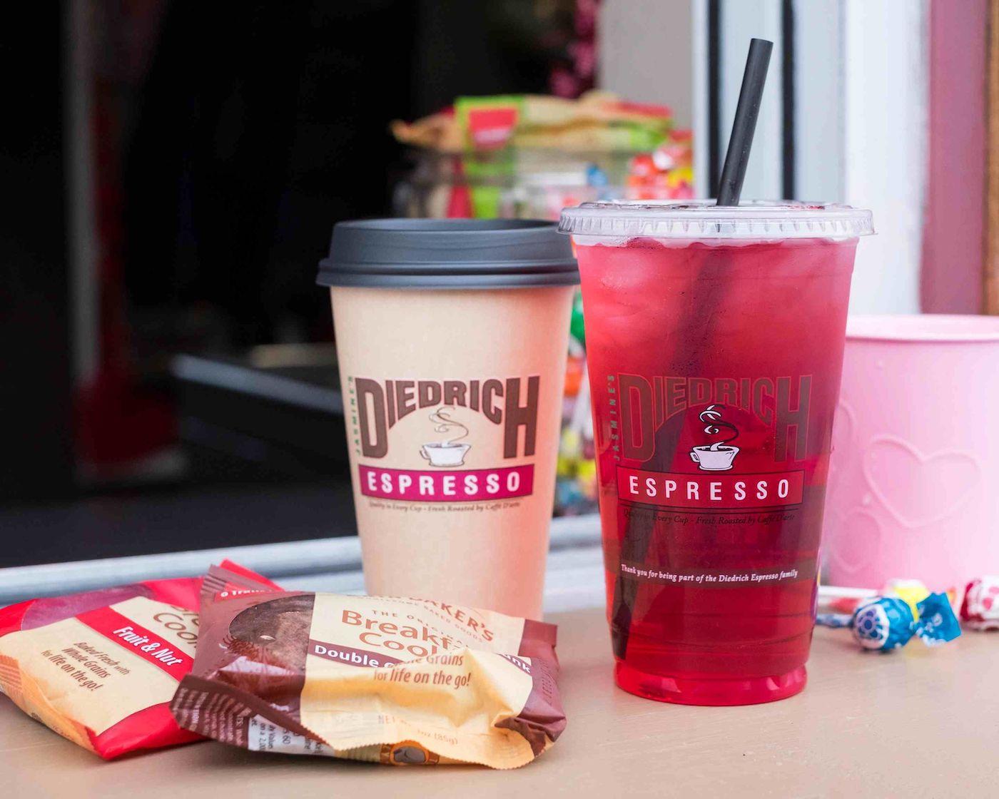 Drinks and snacks from Diedrich Espresso