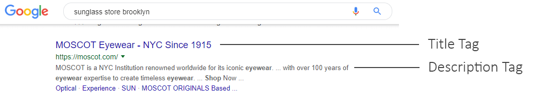 Sunglass store Google listing