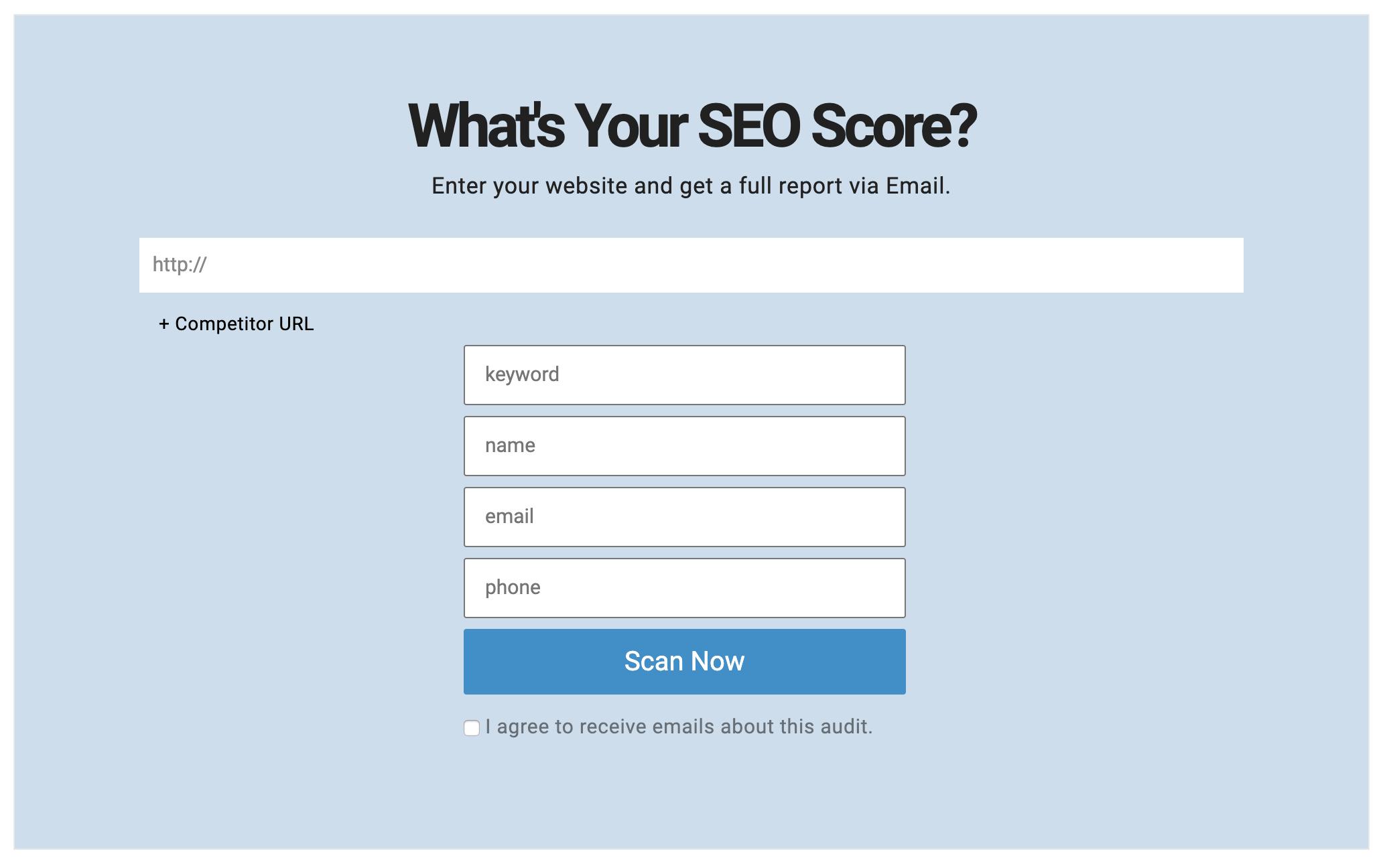 Websitescore.org homepage
