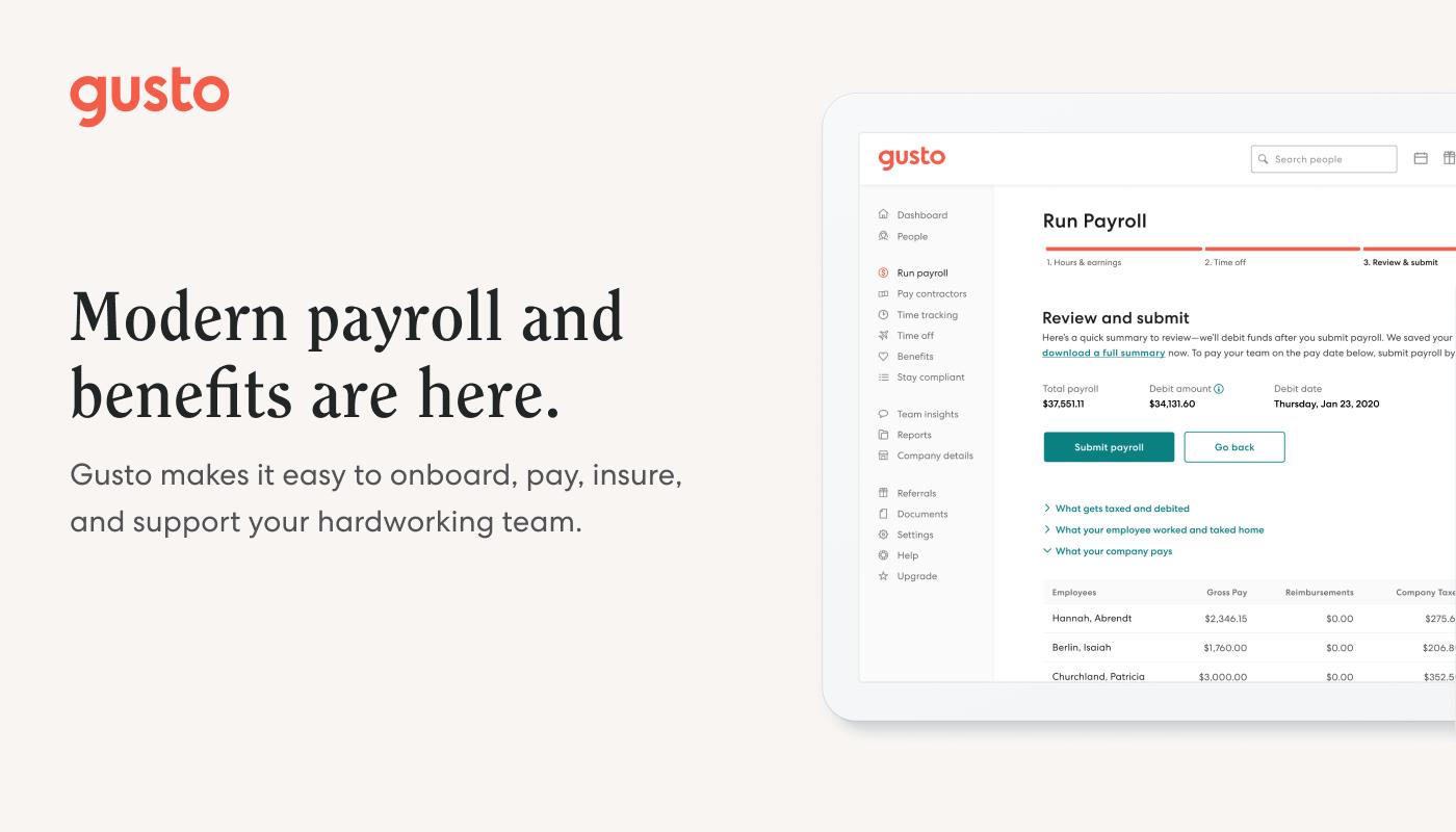 Gusto Payroll and Benefits