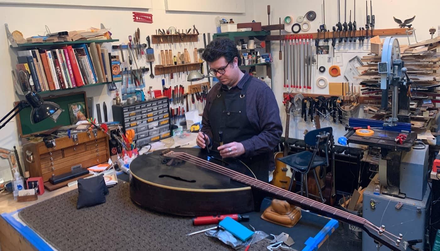 Patt at work, repairing and instrument