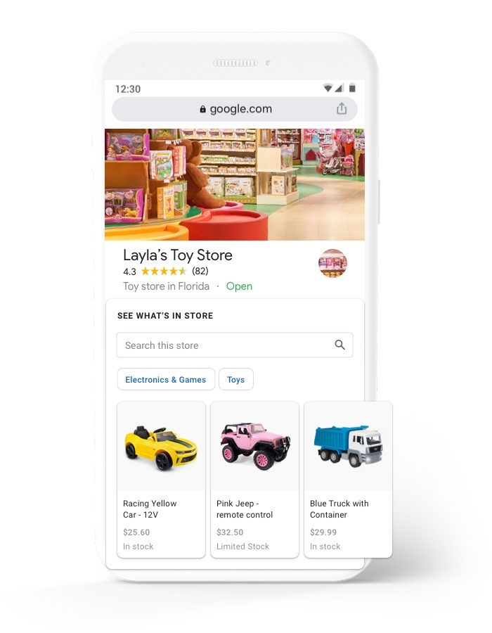 Layla's Toy Store Google Business Profile on mobile