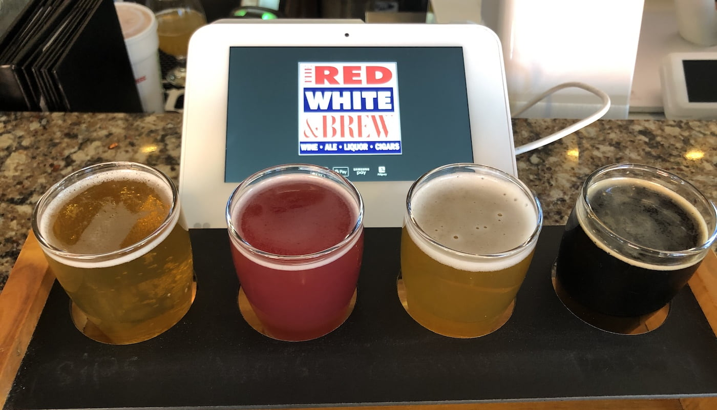 Beer flight at The Red, White & Brew