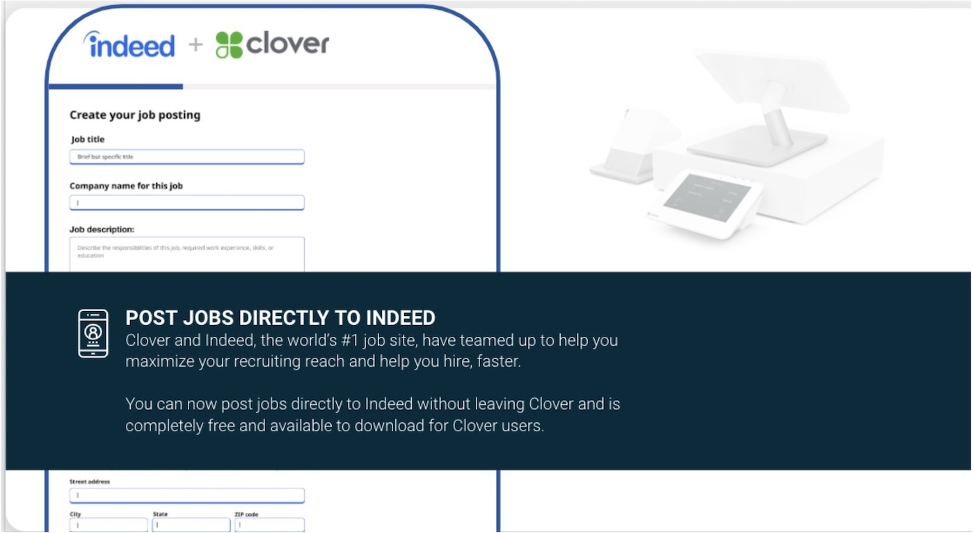 Indeed is now partnering with Clover
