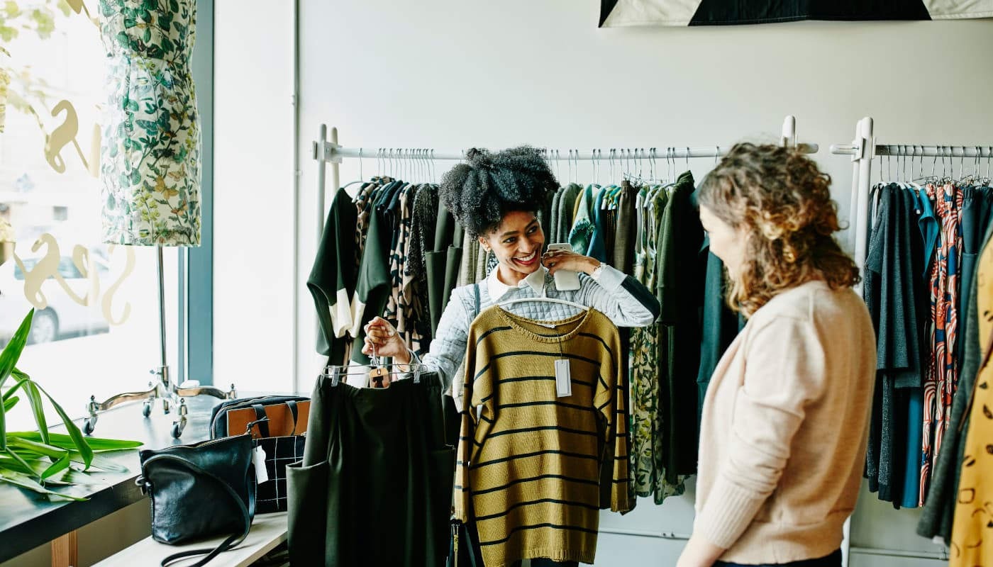 Displaying clothes at a boutique