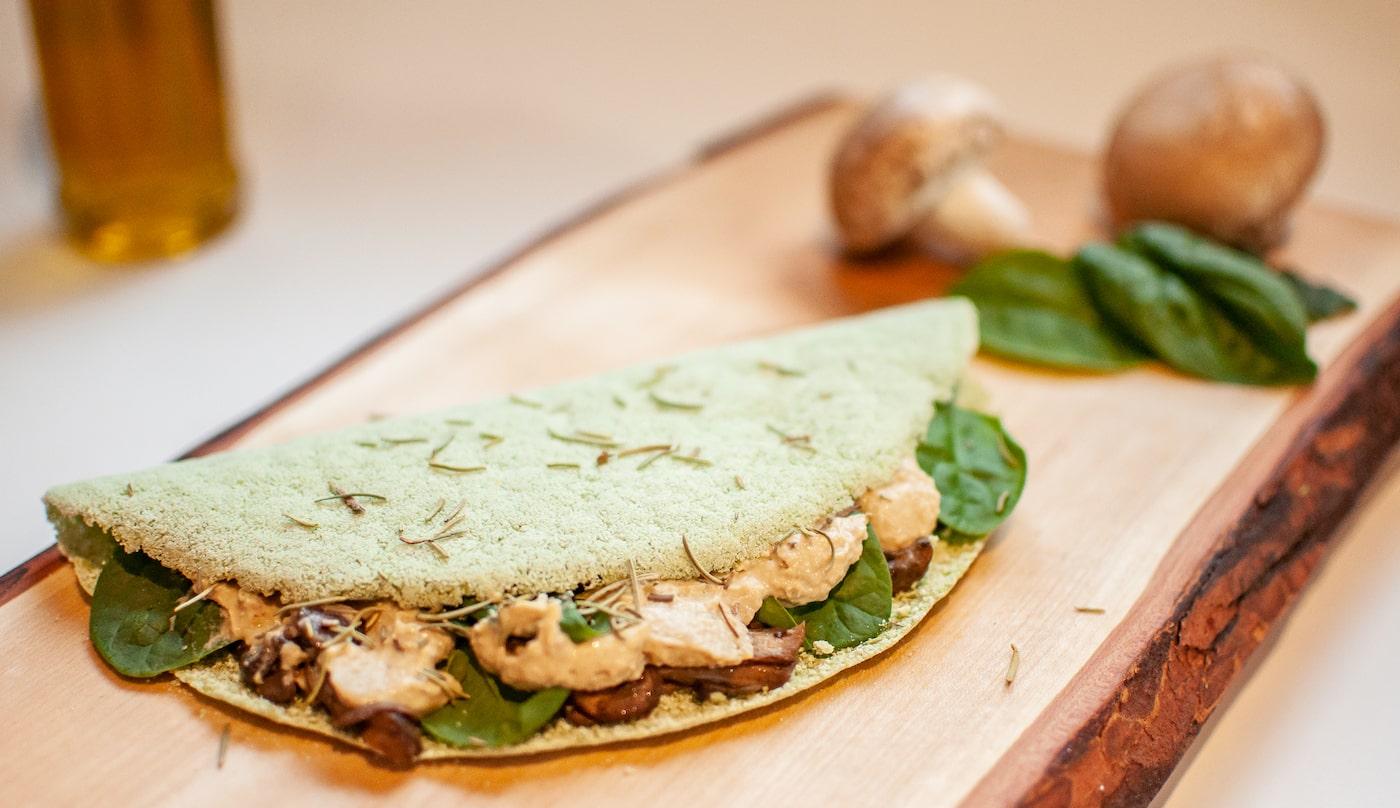 spinach mushroom crepe from Tapi Go!