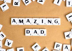 Amazing Dad spelled in Scrabble tiles