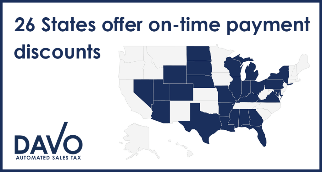 graphic displaying states with on-time payment discounts for sales tax