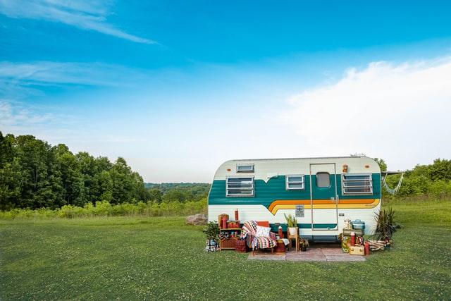 Retro vintage camper in a field.