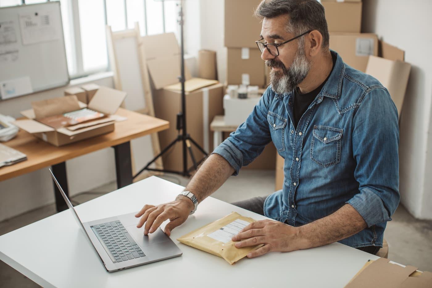 Man fulfilling online orders