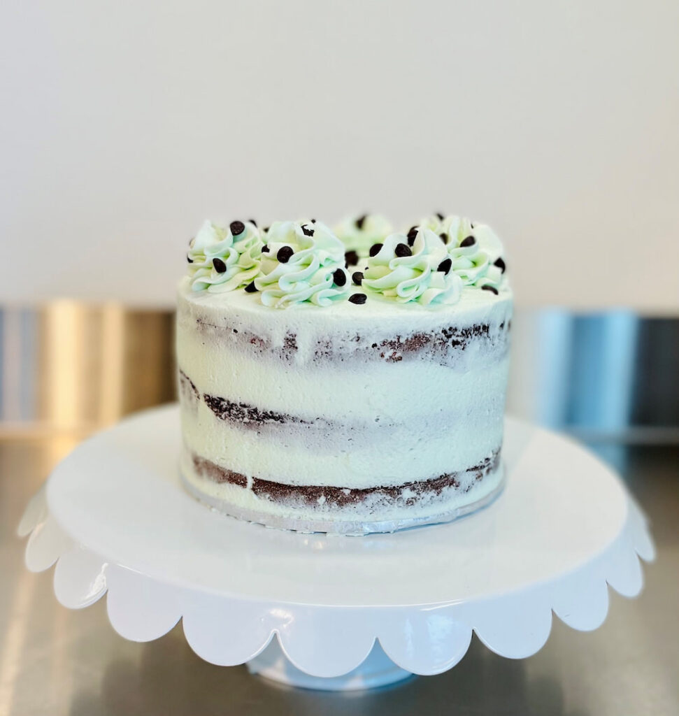 Mint green cake with chocolate chips
